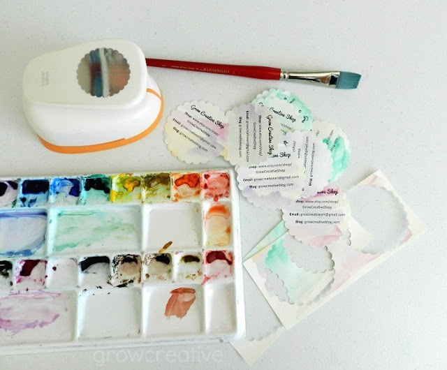 Materials to make your own watercolor business cards: free tutorial