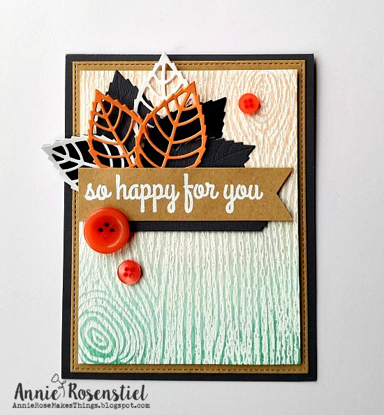 Woodgrain Background stamp and Layered Leaves Die-namics  - Annie Rosenstiel #mftstamps