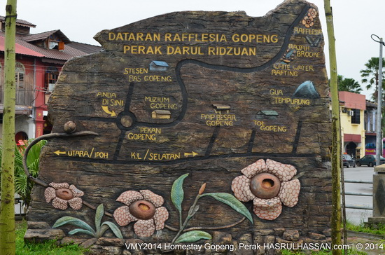 Map of attractive locations near Homestay Gopeng, Perak, Malaysia