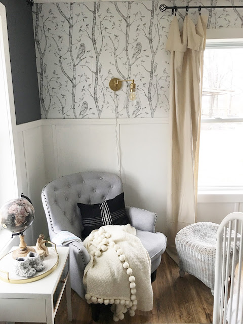 gray and white wallpaper nursery