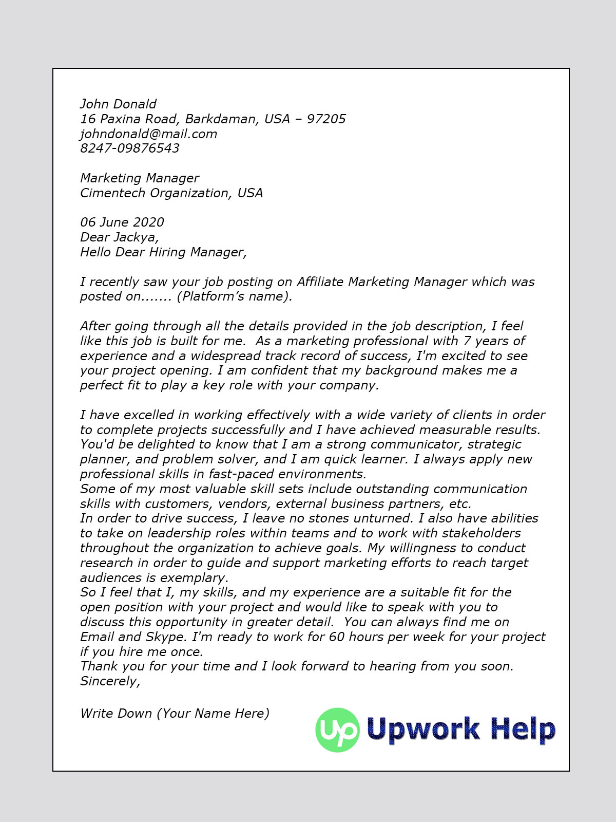 Track Worker Cover Letter Upwork Cover Letter Sample For Affiliate Marketing Amazon