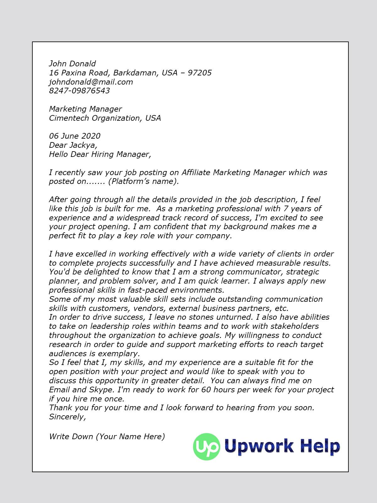 Upwork Cover Letter Sample For Affiliate Marketing