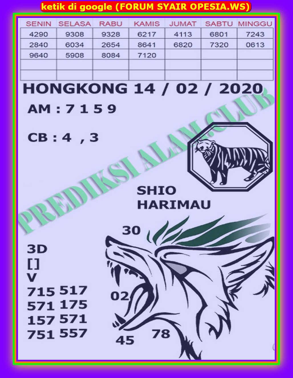 Kode syair Hongkong Jumat 14 Februari 2020 128