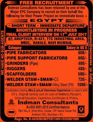 Indman Consultants Mumbai Jobs in Egypt