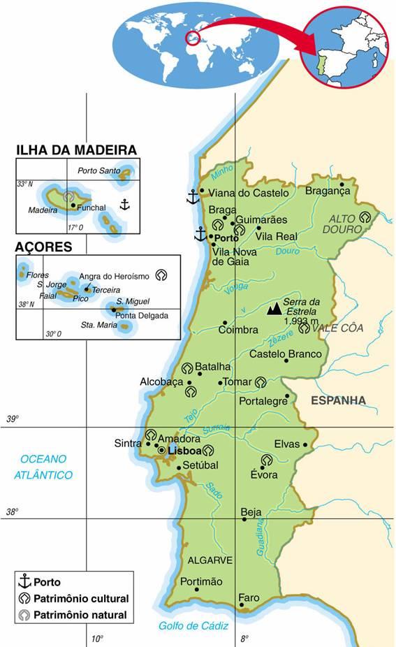 PORTUGAL, ASPECTOS GEOGRÁFICOS E SOCIOECONÔMICOS DE PORTUGAL