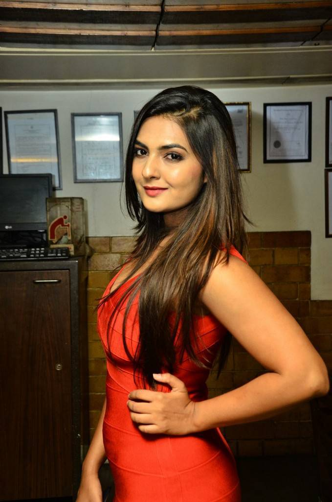Neha Deshpande spotted in a Red Sleeveless Deep Neck Tight Short Dress at Barbeque Nation Cake Mixing Ceremony