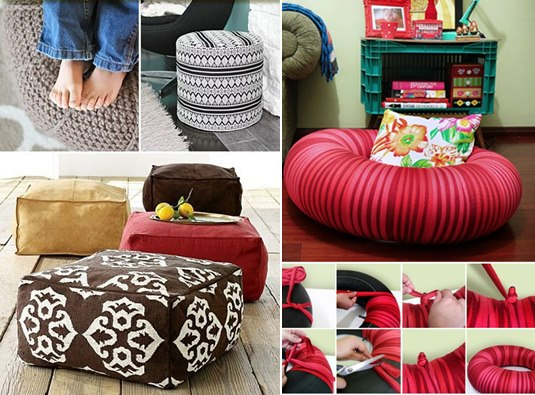Astounding 14 Diy Floor Poufs And Ottomans Diy Craft Projects Machost Co Dining Chair Design Ideas Machostcouk