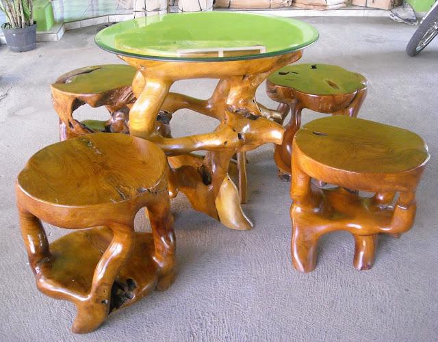 gambar furniture dari akar jati