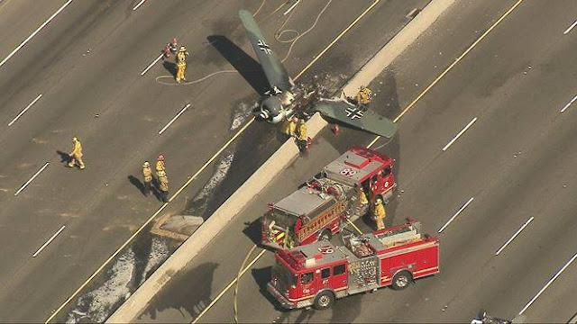 Máy bay lao xuống đường cao tốc, bốc cháy ngùn ngụt