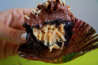 http://backtoherroots.com/2011/06/20/german-chocolate-filled-cupcakes/