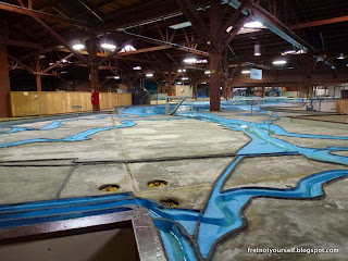 The shallow marshes and winding channels of South Bay are recreated in the Bay Model.