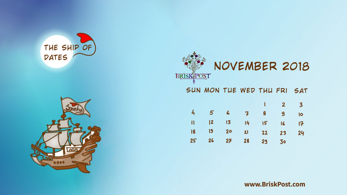 Monthly view of November 2018 Calendar with theme illustration of ship in rough sea