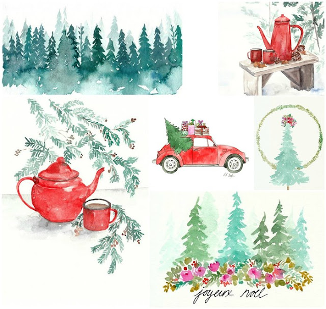 Original Christmas Watercolor Paintings by Elise Engh; red christmas cars, wintry forests, and cheery teapots.