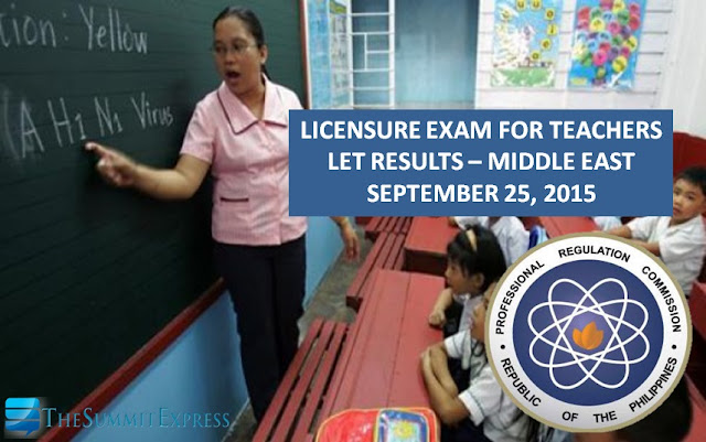 September 2015 LET results released for Middle East exam