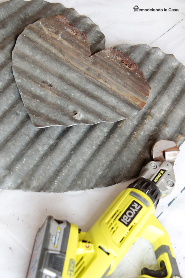 how to cut metal - Ryobi shears and corrugated metal