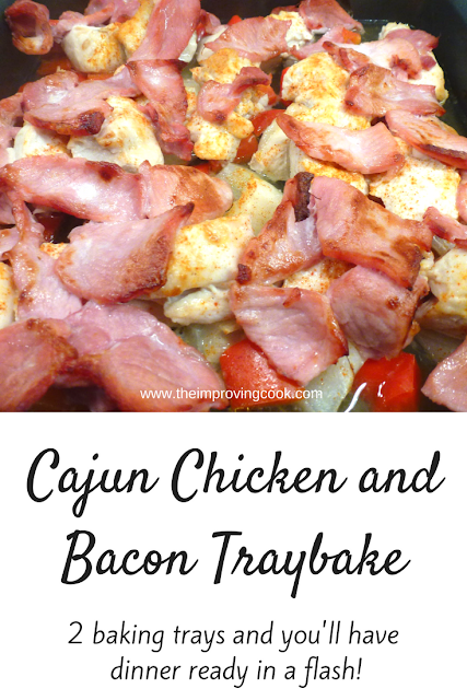 Cooked cajun chicken and bacon on a baking tray with text overlay