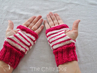 The knit Turtle Mitts pattern by Hands Occupied uses the Coin Stitch or Blister Check Stitch