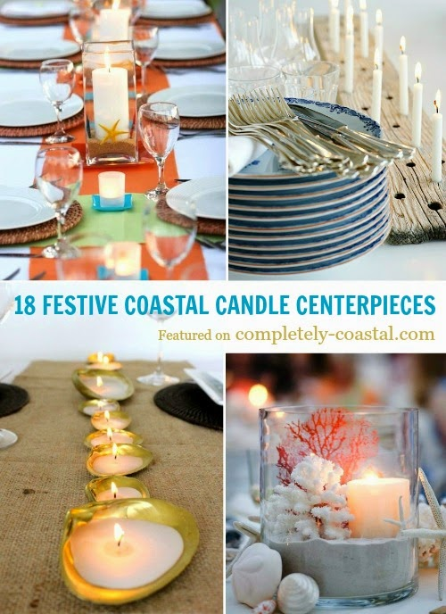 festive coastal candle centerpieces