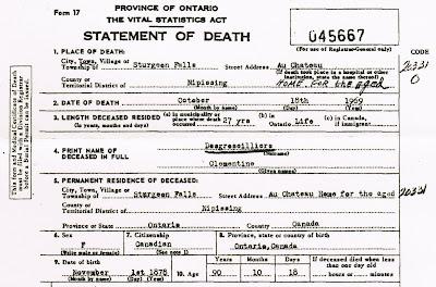 Clémentine Desgroseilliers death registration 1969