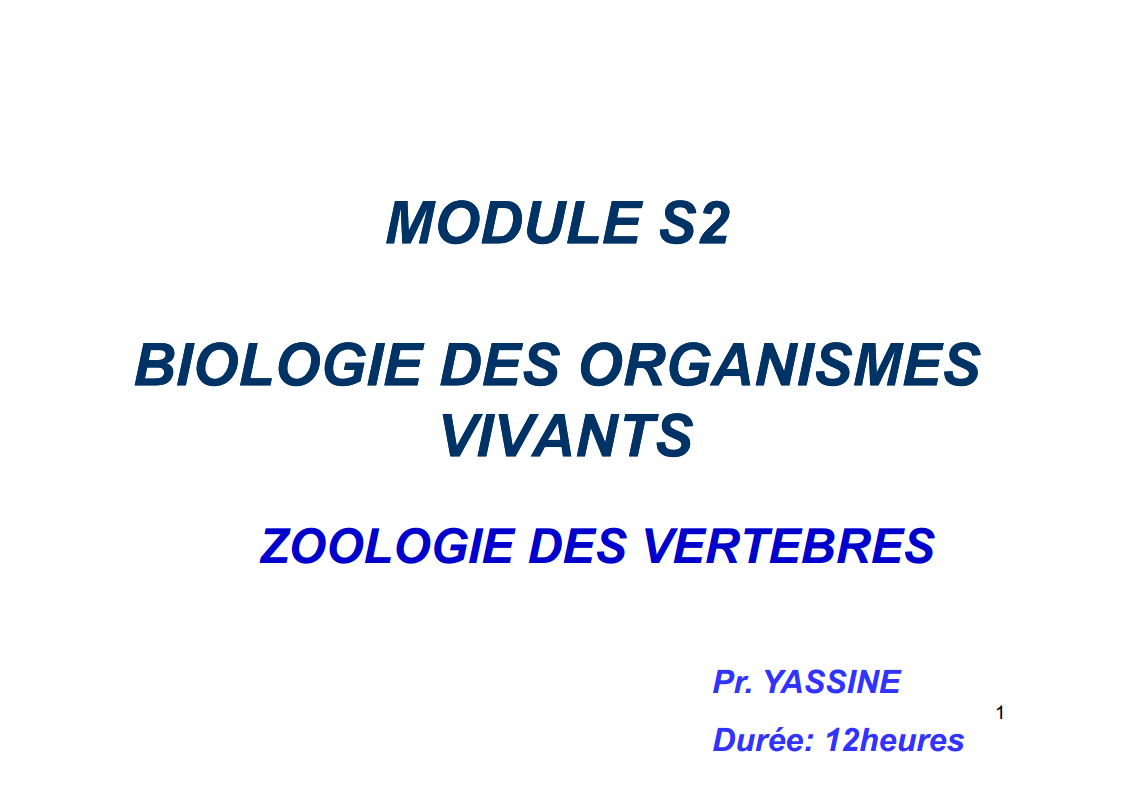 cours biologie animal