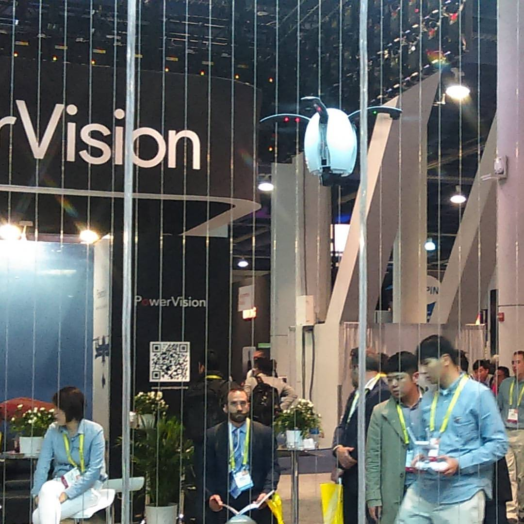 Drone demo at PowerVision booth CES Las Vegas 2017