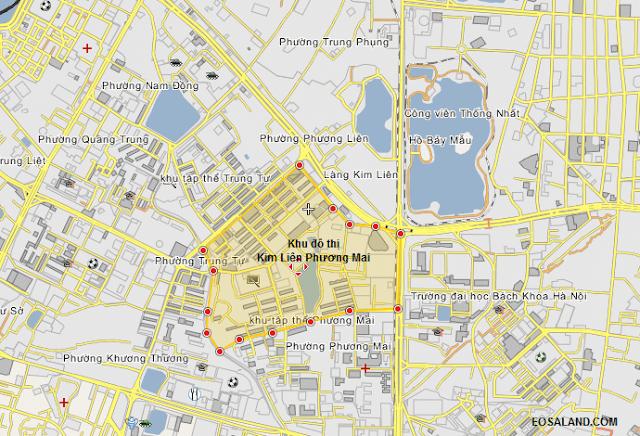 Vị trí khu đô thị dự án Kim Liên Phương Mai