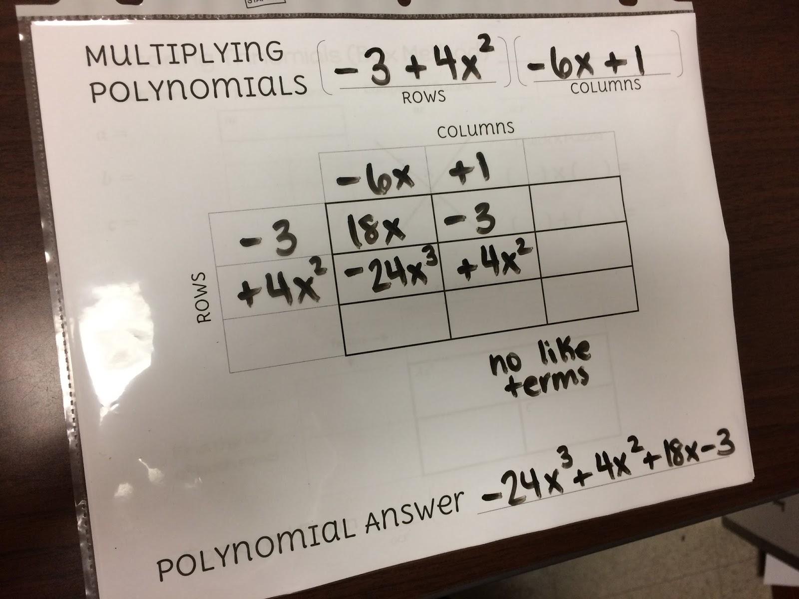 Radical 4 Math Polynomials Amp Box Method Spring