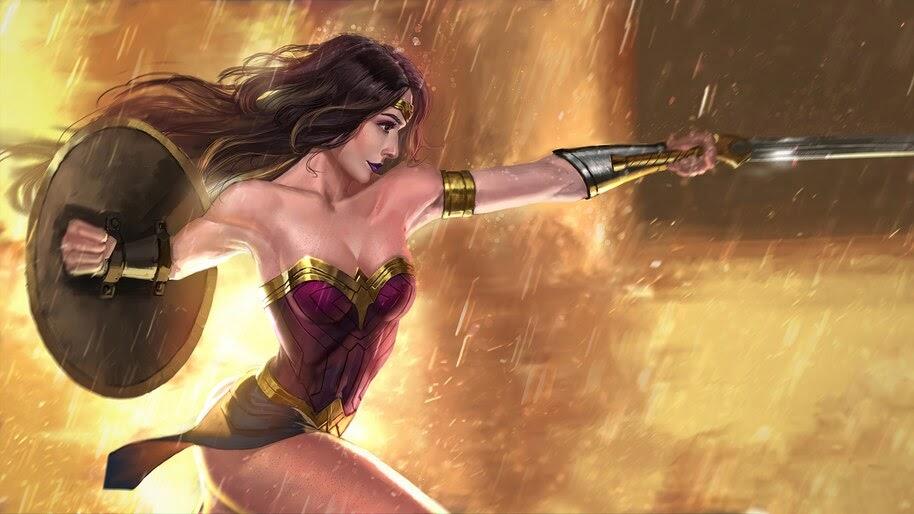 Wonder Woman, Sword, Shield, DC, 4K, #6.1191