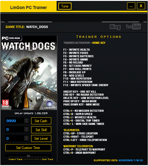 Watch Dogs Game Trainers: Watch Dogs +27 Trainer |LinGon|