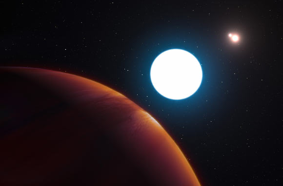 This artist's impression shows a view of the triple-star system HD 131399 (also known as HIP 72940 and 2MASS J14542529-3408342) from close to the Jupiter-like exoplanet orbiting in the system. HD 131399Ab and appears at the lower-left of the picture. Image credit: L. Calcada / ESO