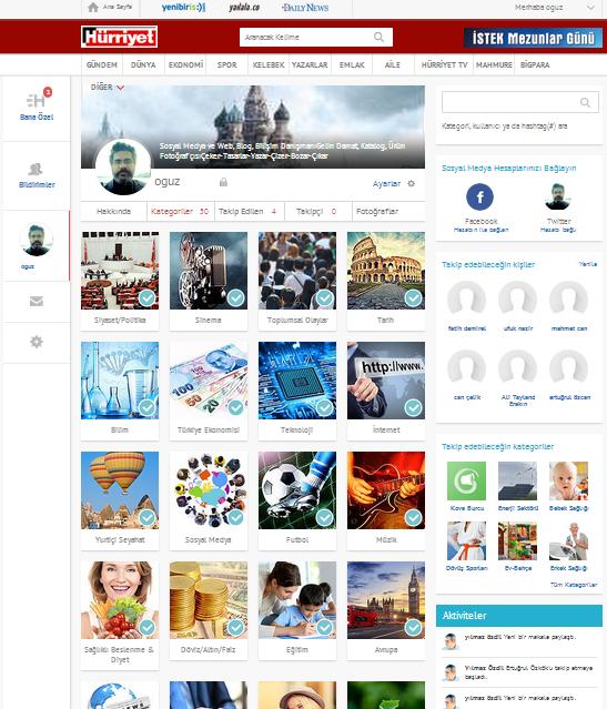 Hürriyet Sosyal, Paylaşma Hürriyeti Kategori Seçim Sayfası, Sosyal Medya