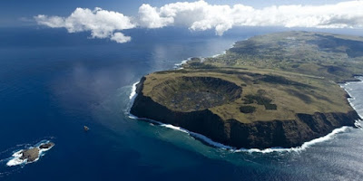 Aerial view of Rapa Nui (Easter Island), South Pacific.