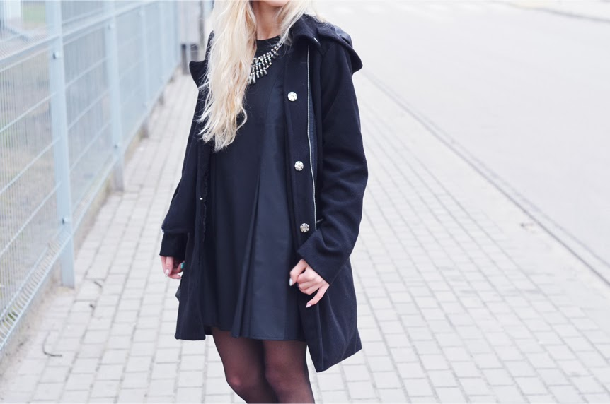 'LET THEM STARE' LITTLE BLACK DRESS, BIKER COAT & BIKER BOOTS