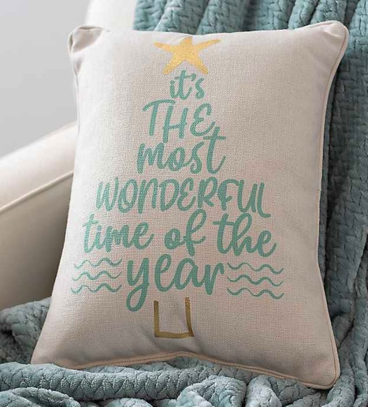 Coastal Beach Christmas Quote Pillow Best Time of the Year