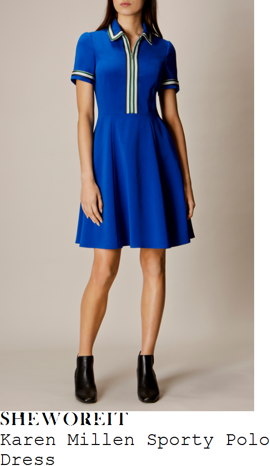 rochelle-humes-karen-millen-bright-electric-blue-white-grey-khaki-and-black-contrast-trim-detail-short-sleeve-collared-zip-up-high-waisted-fit-and-flare-polo-skater-dress