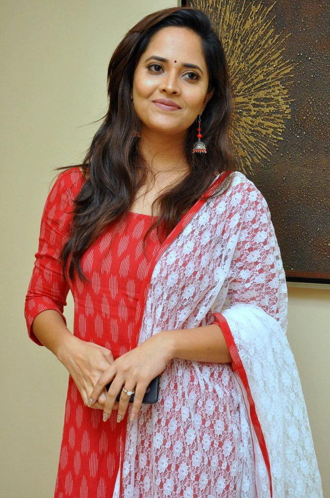 TV Anchor Anasuya At Kalamandir Anniversary Celebrations In Red Dress