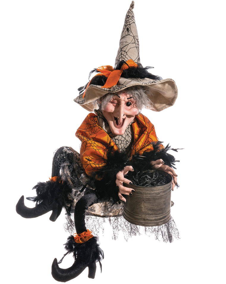 ALLSTATE 'Witch With Bucket Of Spiders' Decoration