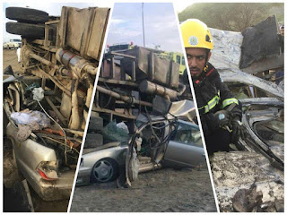 شاحنة-تدهس-سيارة-في-محافظة-العرضيات-وتسببت-في-وفـاة-قائدها