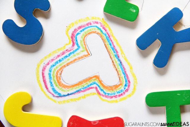 Try this line awareness and spatial awareness handwriting activity using puzzle pieces and crayons to work on handwriting in a fun and creative way that doesn't require writing.