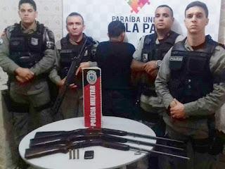 Policia apreende armas de fogo em Nova Palmeira, Juazeirinho entre outros municípios