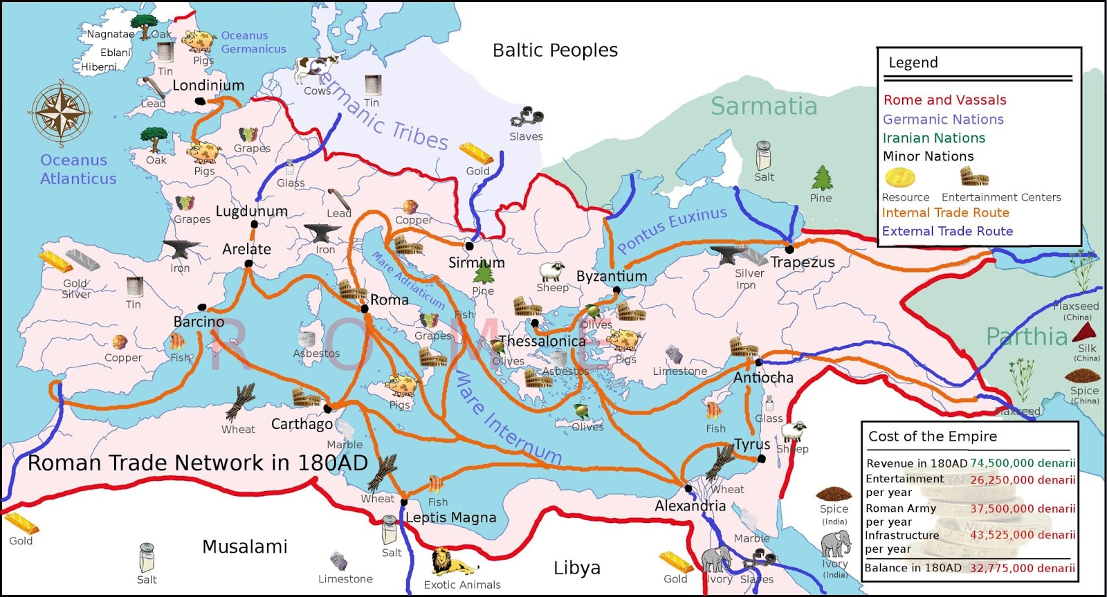 Principal Roman trade routes and resources in 180 AD