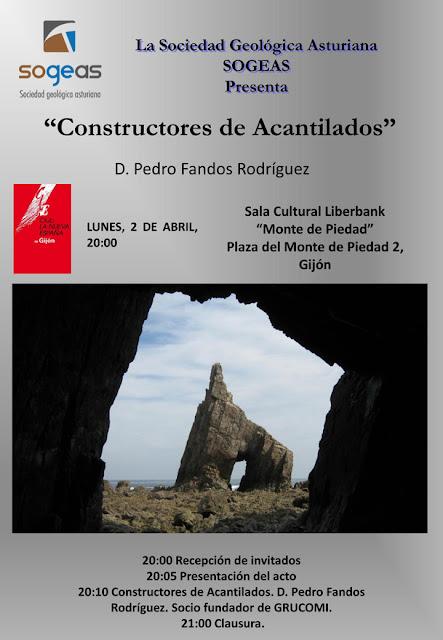 Cartel de la charla de Pedro Fandos Constructores de Acantilados en Gijón