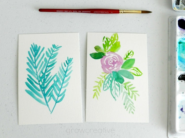Get ready for my upcoming watercolor video tutorials!  Learn how to paint five different watercolor flowers + leaves and greenery #growcreativeblog
