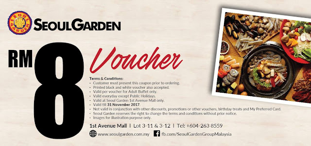Seoul Garden Cash Voucher Discount Offer Promo