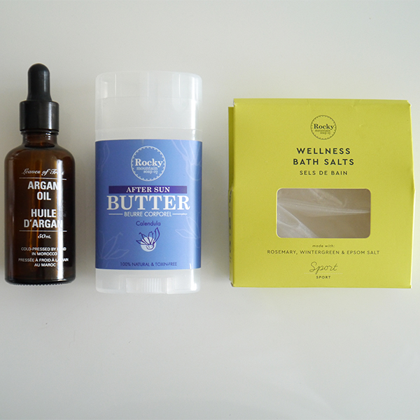 Leaves of Trees Argan Oil, Rocky Mountain Soap Company After Sun Butter and Wellness Bath Salts