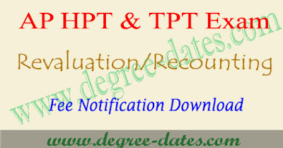 AP TPT/HPT exam revaluation/recounting fee last date 2017 & results