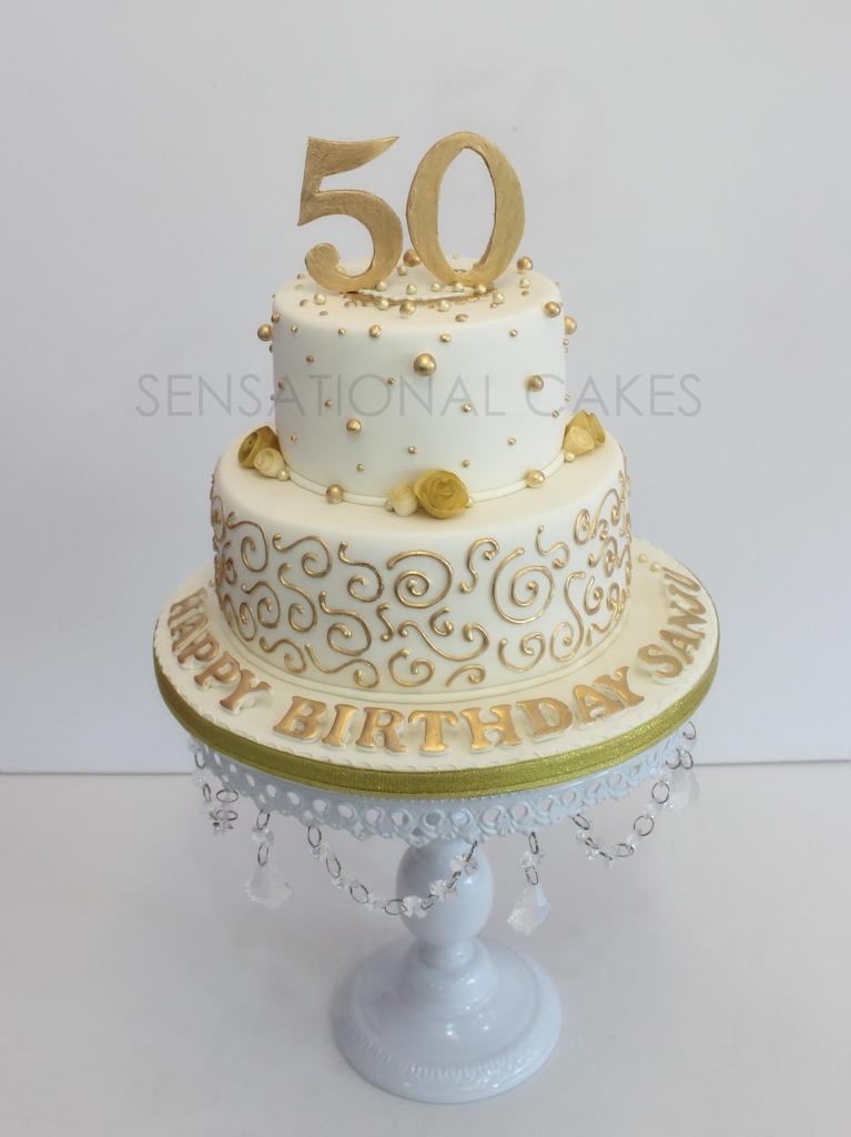 The Sensational Cakes Golden 50th Birthday Cake Sheer Golden