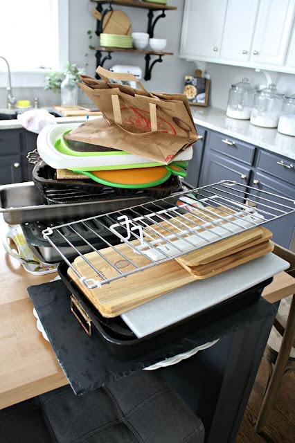 Organizing above fridge