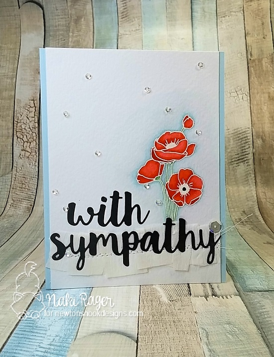 Floral Sympathy Card by Naki Rager | Flower Garden Stamp set by Newton's Nook Designs #newtonsnook