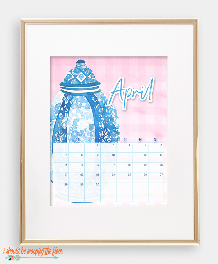 April Chinoiserie Calendar